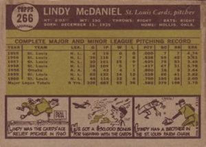 1961 Topps Lindy McDaniel (#266) back