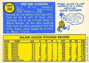 1970 Topps Fred Gladding (#208) back
