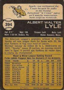 1973 Topps Sparky Lyle (#394) back