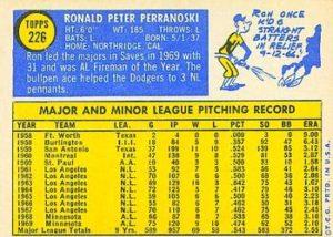 1970 Topps Ron Perranoski (#226) back