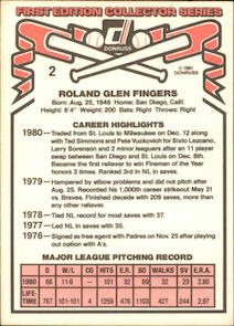 1981 Donruss Rollie Fingers (#2) back