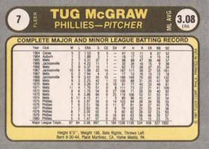 1981 Fleer Tug McGraw (#7) back