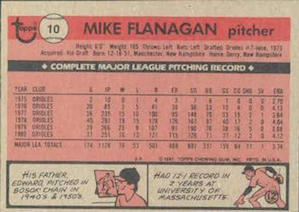 1981 Topps Mike Flanagan (#10) back