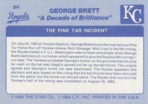 1984 Star Company George Brett Pine Tar Game (back)