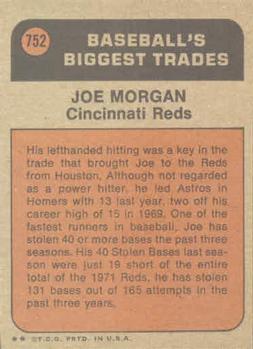 1972 Topps Traded Joe Morgan (back)