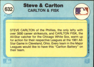 1982 Fleer Steve Carlton and Carlton Fisk