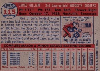 1957 Topps Jim Gilliam (back)