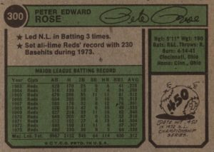 1974 Topps Pete Rose (back)