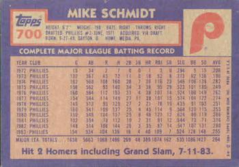 1984 Topps Mike Schmidt (back)