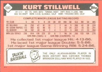 1986 Topps Traded Kurt Stillwell (back)