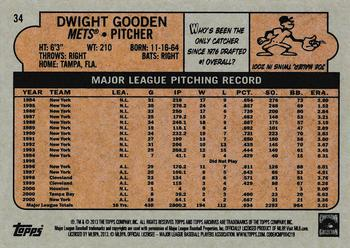 2013 Topps Archives Dwight Gooden (back)