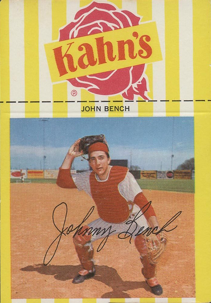 1968 Kahn 39 S Johnny Bench Helped Collectors Slash Out Of Topps 39 Burlap Bag Wax Pack Gods