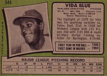 1971 Topps Vida Blue (back)