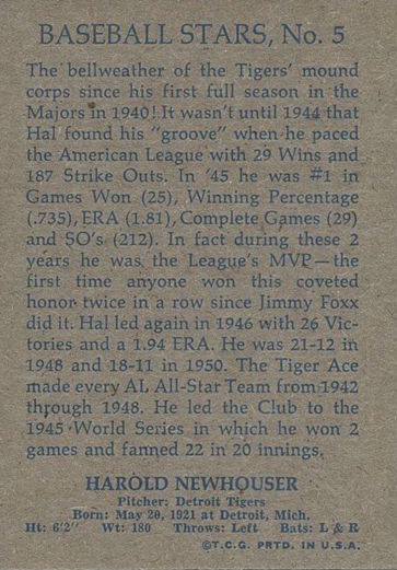 1973 Topps 1953 Topps Reprint Hal Newshouser (back)