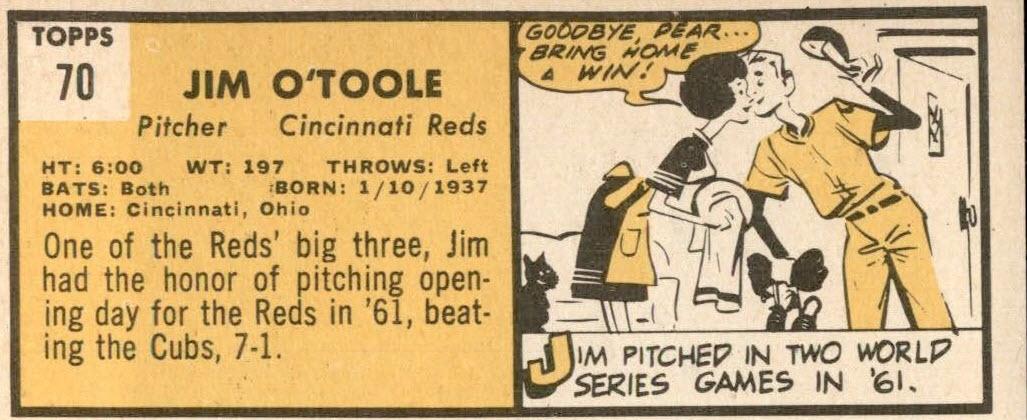 1963 Topps Jim O'Toole (back)
