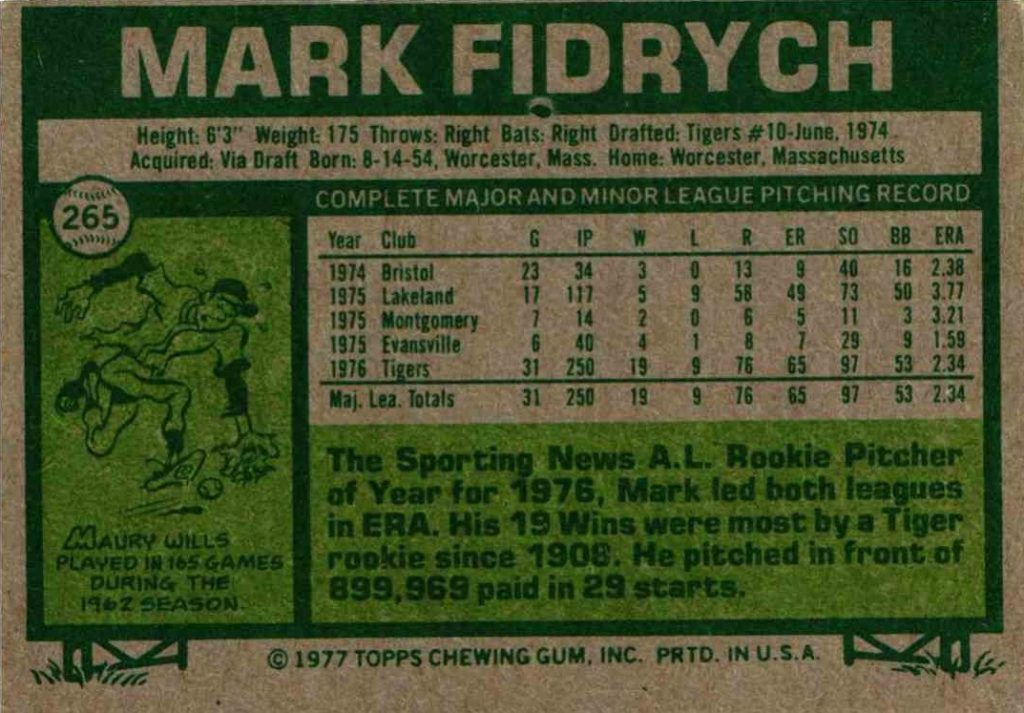 1977 Topps Mark Fidrych (back)