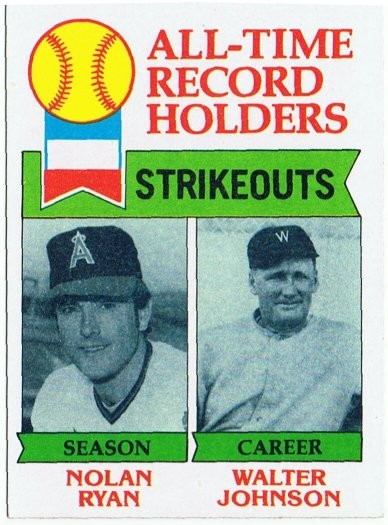 1979 Topps All-Time Record Holders Nolan Ryan and Walter Johnson
