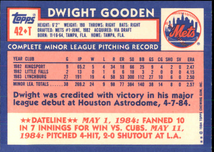 1984 Topps Traded Dwight Gooden (back)
