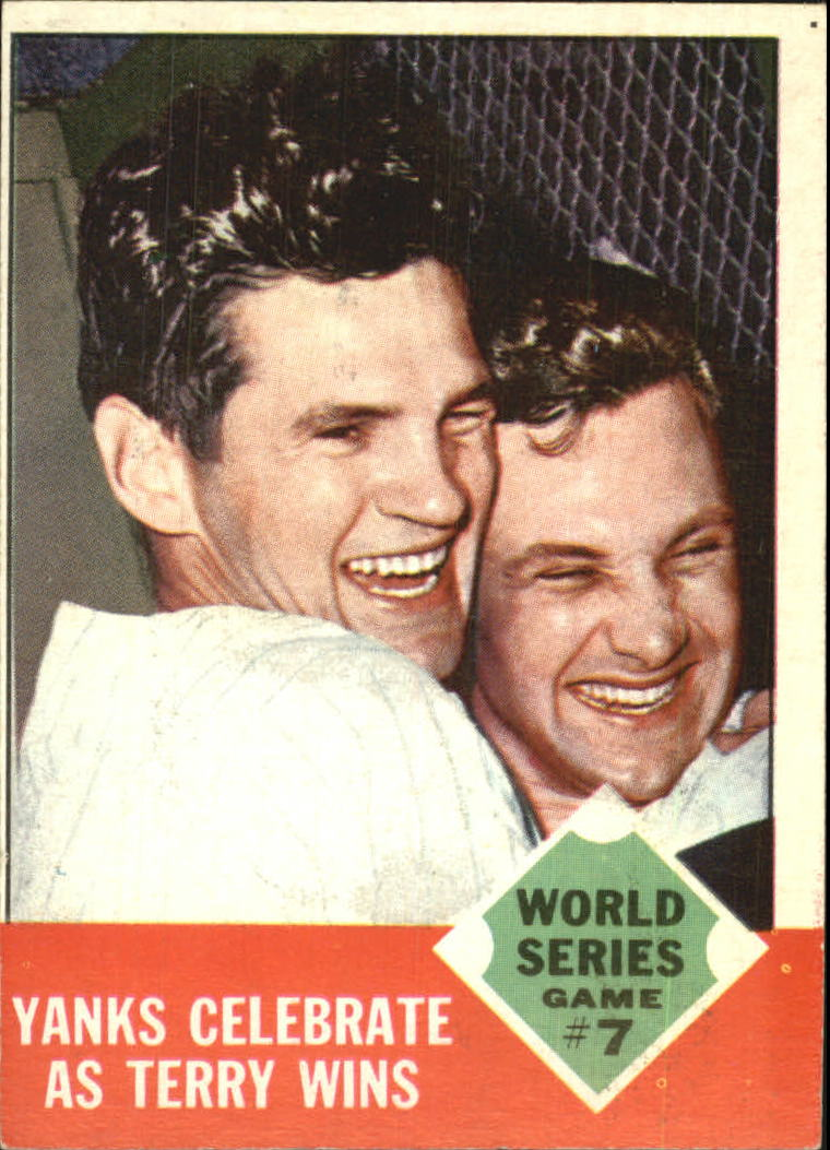 1963 topps yanks celebrate as terry wins