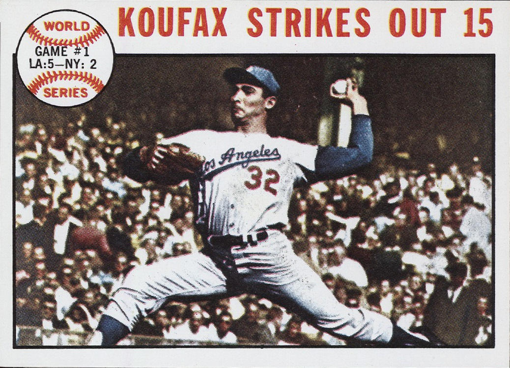 1964 topps koufax strikes out 15