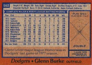 1978 Topps Glenn Burke (back)