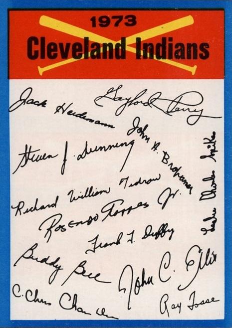 1973 Topps Cleveland Indians Checklist