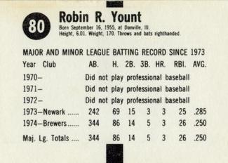 1975 Hostess Twinkies Robin Yount back