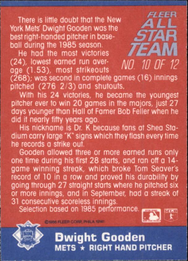 1986 Fleer All Star Dwight Gooden (back)