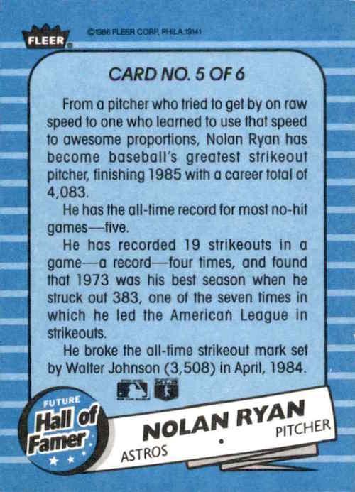 1986 Fleer Future Hall of Famer Nolan Ryan (back)
