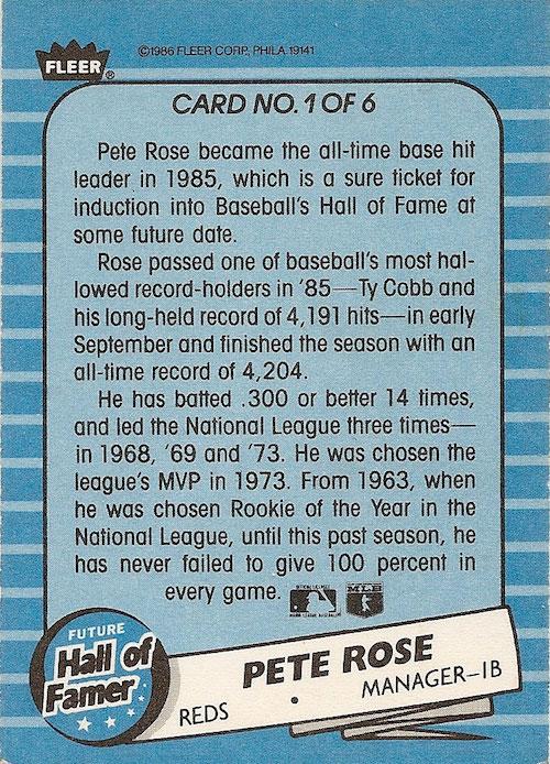 1986 Fleer Future Hall of Famer Pete Rose (back)
