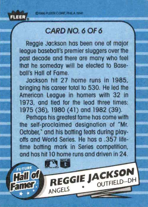 1986 Fleer Future Hall of Famer Reggie Jackson (back)