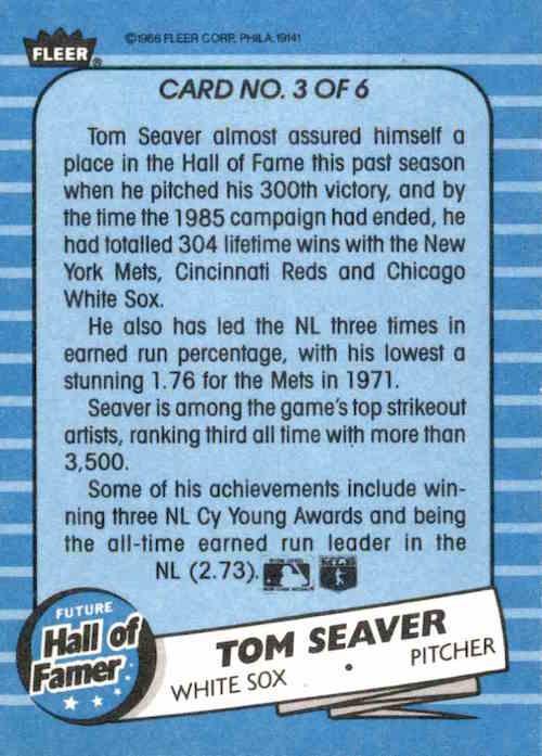 1986 Fleer Future Hall of Famer Tom Seaver (back)