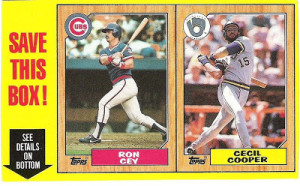 1987 Topps Baseball Box Panel