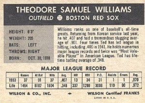 1954-Wilson-Franks-Baseball-Ted-Williams-back