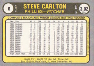 1981 Fleer Steve Carlton (#6) back