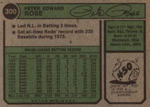 1974 Topps Pete Rose (back)