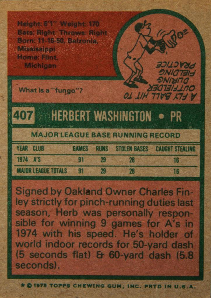 1975 Topps Herb Washington (back)