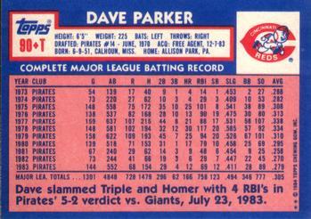 1984 Topps Traded Dave Parker (back)