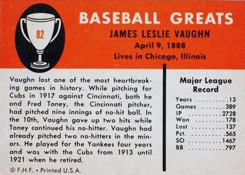 1961 Fleer Hippo Vaughn (back)
