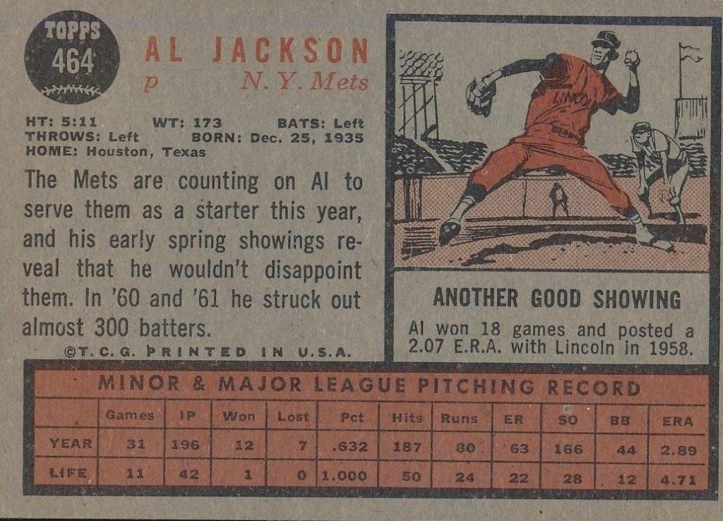 1962 Topps Al Jackson (back)