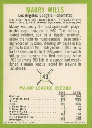 1963 Fleer Maury Wills (back)