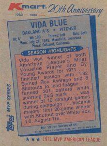 1982 KMart 1971 Topps Vida Blue (back)