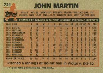 1983 Topps John Martin (back)