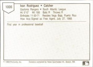 1989 ProCards Ivan Rodriguez (back)