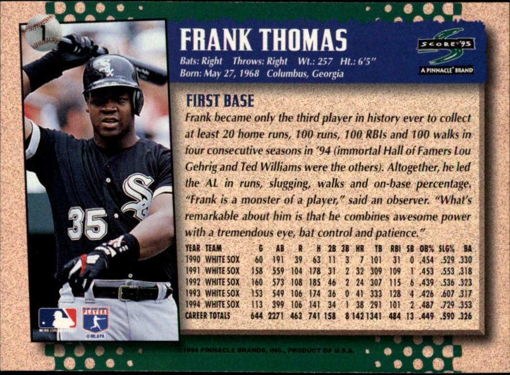 1995 Score Frank Thomas (back)