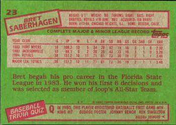 1985 Topps Bret Saberhagen (back)