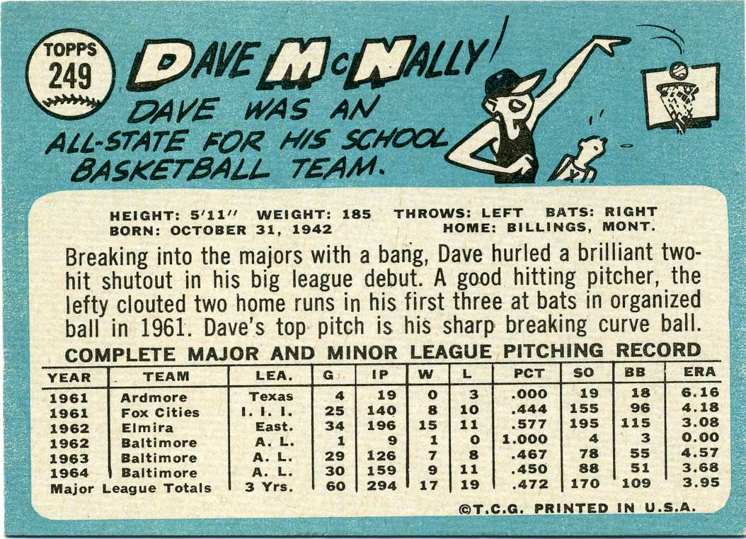 1965 Topps Dave McNally (back)