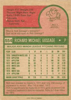 1975 O-Pee-Chee Rich Gossage (back)