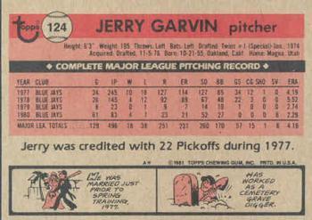 1981 Topps Jerry Garvin (back)