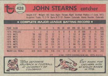 1981 Topps John Stearns (back)